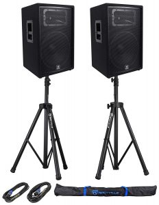 JBL Pro Speakers with Stands and Cables